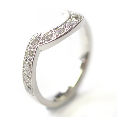 Platinum Diamond Fitted Wedding Ring with Millgrain Detail 5.jpg