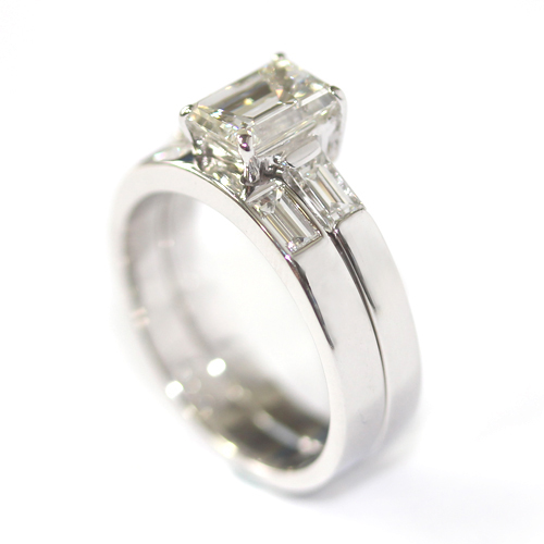 Platinum Double Diamond Set Fitted Wedding Ring Set.jpg