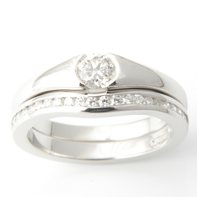Platinum Half Eternity Diamond Set Fitted Wedding Ring 1.jpg