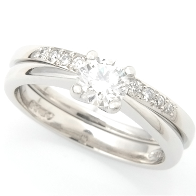 Platinum Diamond Set Fitted Wedding Ring to Solitaire Engagement Ring 3.jpg
