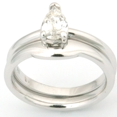 18ct White Gold Fitted Wedding Ring to Pear Cut Diamond Engagement Ring 2.jpg