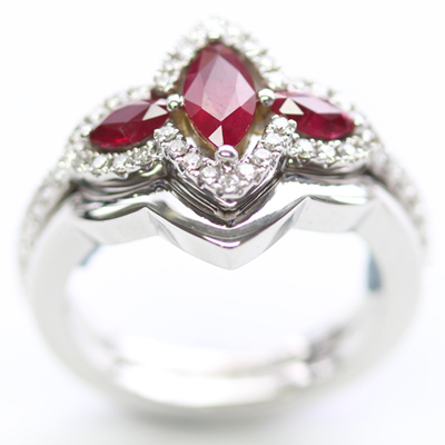 18ct White Gold Plain Fitted Wedding Ring to Ruby Trilogy Engagement Ring 2.jpg