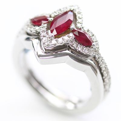 18ct White Gold Plain Fitted Wedding Ring to Ruby Trilogy Engagement Ring 3.jpg