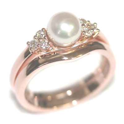 9ct Rose Gold Pearl and Diamond Engagement Ring and Fitted Wedding Ring 2.jpg