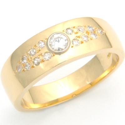 18ct Yellow Gold Diamond Set Gents Wedding Ring 1.jpg