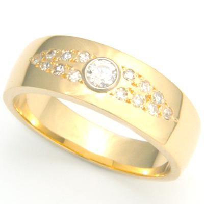 18ct Yellow Gold Diamond Set Gents Wedding Ring 2.jpg