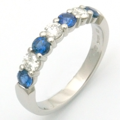 Platinum Diamond and Sapphire Eternity Ring 1.jpg