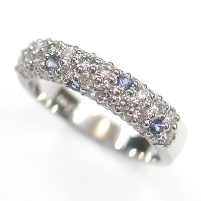 18ct White Gold Diamond and Sapphire Pave Set Eternity Ring 1.jpg