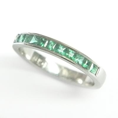 Platinum Princess Cut Emerald Eternity Ring 3.jpg
