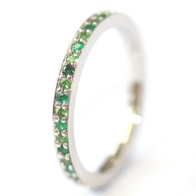 Platinum Tsavorite and Emerald Eternity Ring 4.jpg
