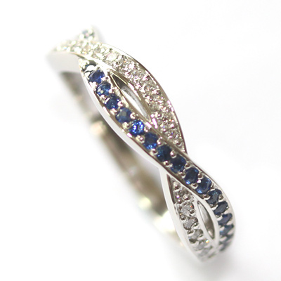 Platinum Sapphire and Diamond Twist Eternity Ring 3.jpg