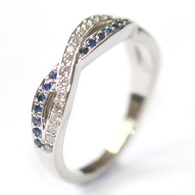 Platinum Sapphire and Diamond Twist Eternity Ring 4.jpg