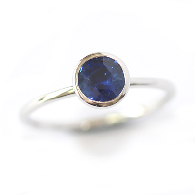 18ct White Gold Rub Set Solitaire Sapphire Eternity Ring 1.jpg