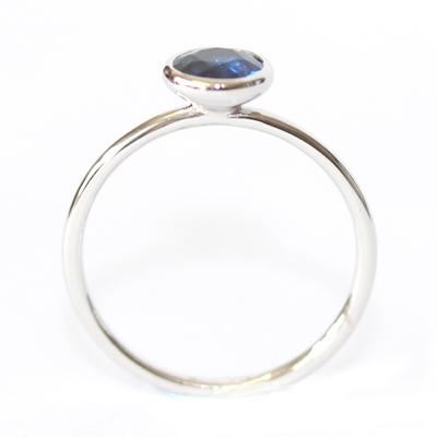 18ct White Gold Rub Set Solitaire Sapphire Eternity Ring 5.jpg