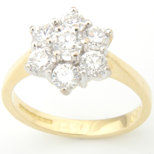 18ct Yellow and White Gold Diamond Cluster Ring.jpg