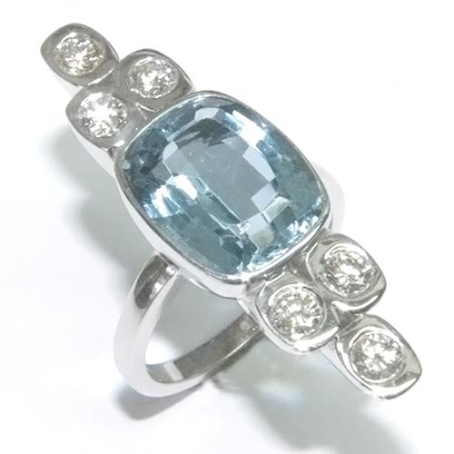 9ct White Gold Aquamarine and Diamond Cocktail Ring.jpg