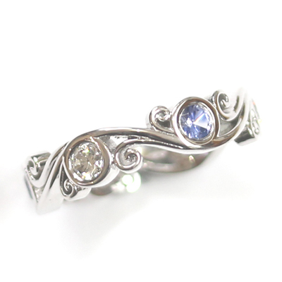 18ct White Gold Sapphire and Diamond Dress Ring 1.jpg