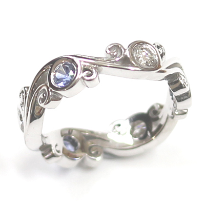 18ct White Gold Sapphire and Diamond Dress Ring 2.jpg