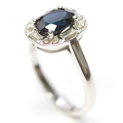 White Gold Sapphire and Diamond Art Deco Dress Ring 3.jpg
