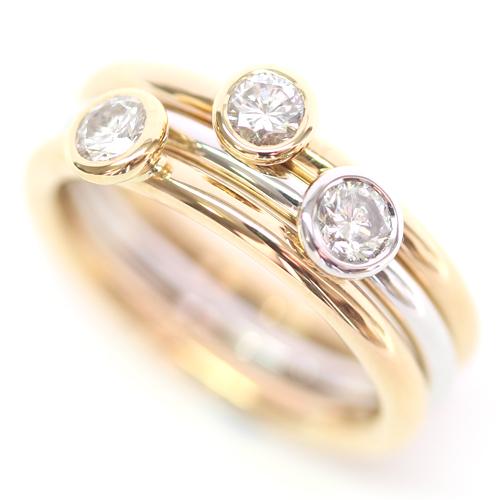 18ct White and Yellow Gold Diamond Stacking Rings.jpg