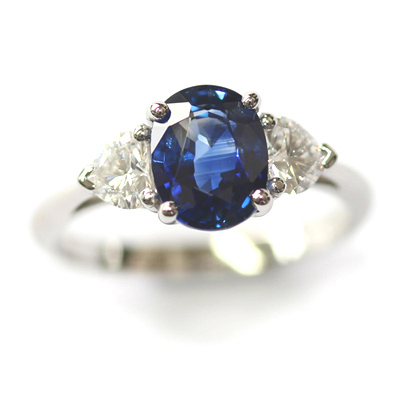 Platinum Oval Cut Sapphire and Diamond Trilogy Dress Ring 3.jpg