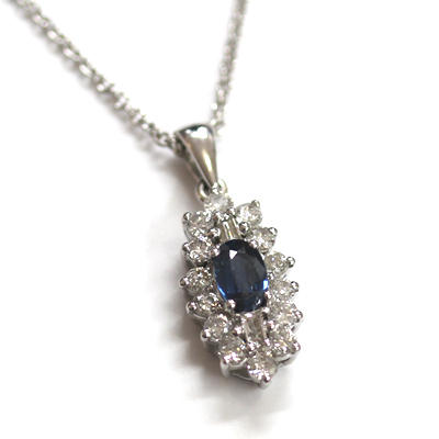 9ct White Gold Diamond and Sapphire Cluster Pendant 2.jpg