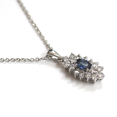9ct White Gold Diamond and Sapphire Cluster Pendant 4.jpg
