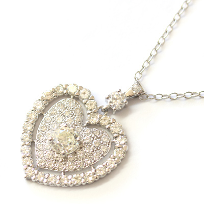 9ct White Gold Fully Diamond Set Heart Pendant 2.jpg