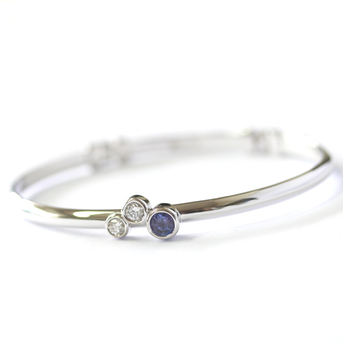 9ct White Gold Tanzanite and Diamond Trilogy Bangle.jpg