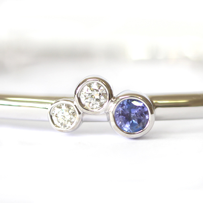 9ct White Gold Tanzanite and Diamond Trilogy Bangle 2.jpg