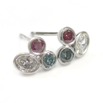 Brushed Platinum White, Pink and Blue Diamond Trilogy Earrings 2.jpg