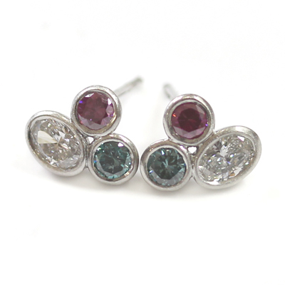 Brushed Platinum White, Pink and Blue Diamond Trilogy Earrings 1.jpg