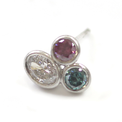 Brushed Platinum White, Pink and Blue Diamond Trilogy Earrings 3.jpg