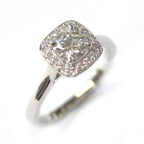 Platinum Round Brilliant Cut Diamond, Cushion Shaped Halo Engagement Ring.jpg