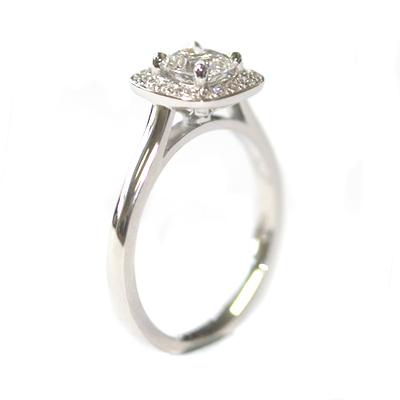 Platinum Round Brilliant Cut Diamond, Cushion Shaped Halo Engagement Ring 7.jpg