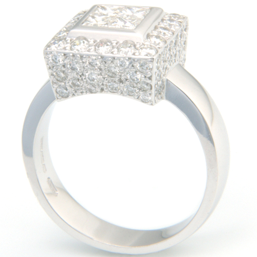 18 carat White Gold Princess Cut Diamond and Pave Cluster Engagement Ring.jpg