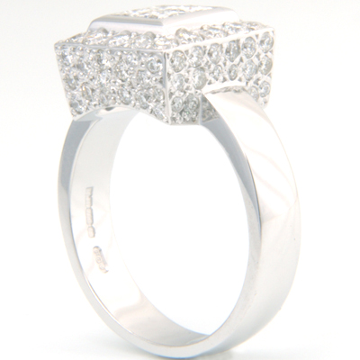 18 carat  White Gold Princess Cut Diamond and Pave Cluster Engagement Ring 4.jpg
