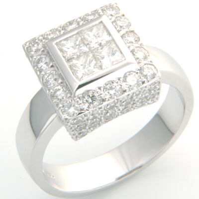 18 carat White Gold Princess Cut Diamond and Pave Cluster Engagement Ring 1.jpg