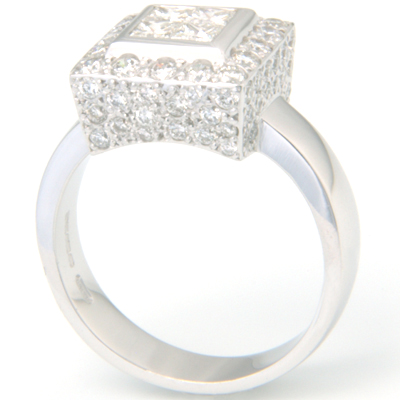 18 carat White Gold Princess Cut Diamond and Pave Cluster Engagement Ring 3.jpg