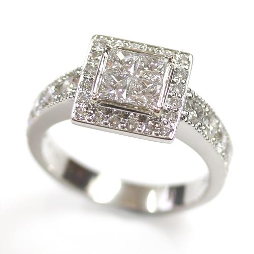 Platinum Princess Cut Diamond Cluster Engagement Ring.jpg