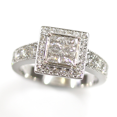 Platinum Princess Cut Diamond Cluster Engagement Ring 4.jpg