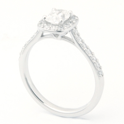 Platinum Tiffany Inspired Cushion Cut Cluster Diamond Engagement Ring 2.jpg