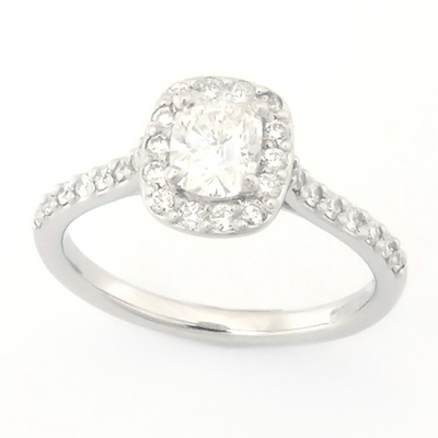 Platinum Tiffany Inspired Cushion Cut Cluster Diamond Engagement Ring 3.jpg