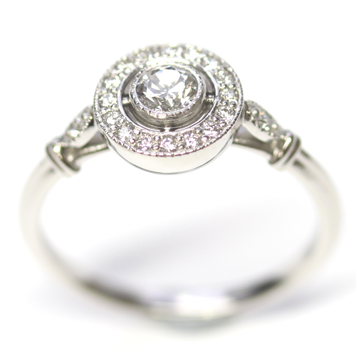 Platinum Antique Style Diamond Halo Engagement Ring Form Bespoke Jewellers.jpg
