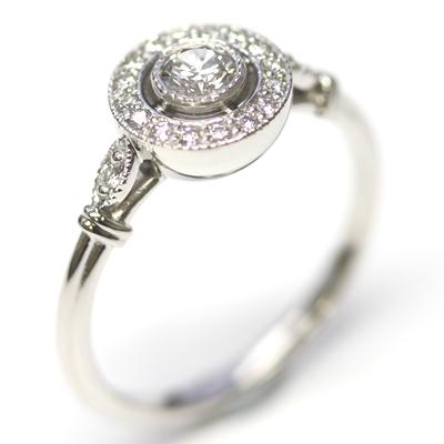 Platinum Antique Style Diamond Halo Engagement Ring 4.jpg