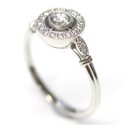 Platinum Antique Style Diamond Halo Engagement Ring 3.jpg