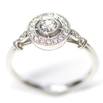 Platinum Antique Style Diamond Halo Engagement Ring Form Bespoke Jewellers 1.jpg