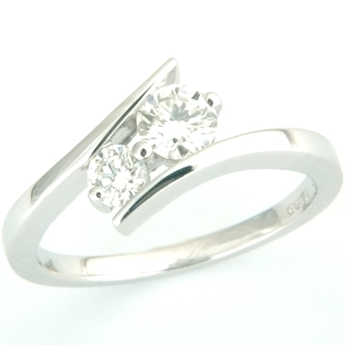 18ct White Gold Two Diamond Sweeping Engagement Ring.jpg