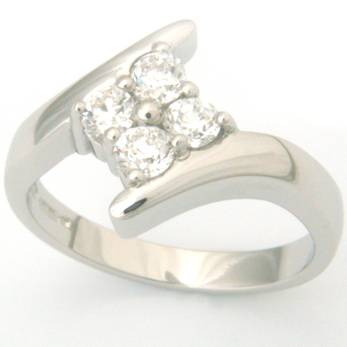 Platinum Four Diamond Cluster Engagement Ring.jpg