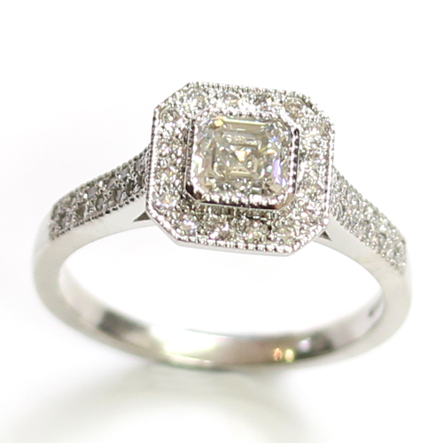 Platinum Princess Cut Diamond Cluster Engagement Ring.jpg